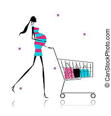 zakken, vrouw winkelen, zwangere , ontwerp, jouw