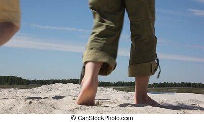 zand, aanzicht, back, gezin, gaat
