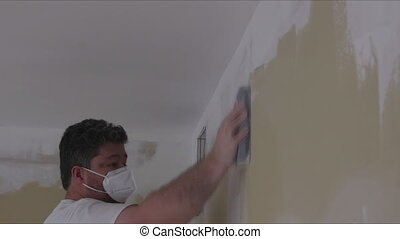 zand, gedurende, vernieuwing, trowel, sanding, arbeider, modder, drywall, gebruik, woning