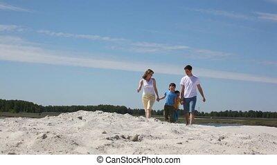 zand, gezin, gaat, vrolijke