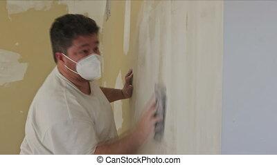 zand, plasterboard, pleister, trowel, aannemer, sanding, gebruik