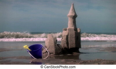 zand strand, kasteel, (1003)