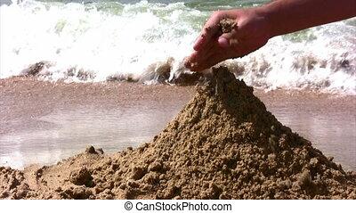 zand strand, spelend, hand