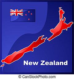 zeeland, nieuw, vlag, kaart