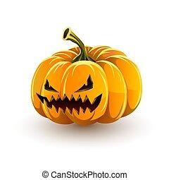 zeer, boos, halloween., halloween, kwaad, jack-o'-lantern, pompoen