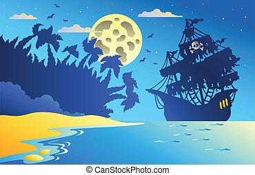 zeezicht, scheeps , 2, zeerover, nacht