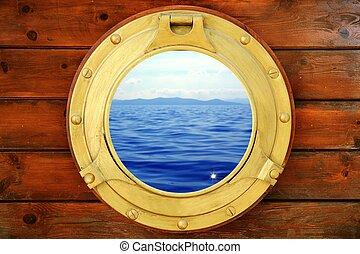 zeezicht, vakantie, gesloten, patrijspoort, scheepje, aanzicht