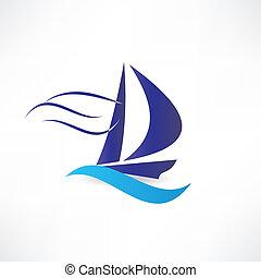 zeilboot, zee, pictogram