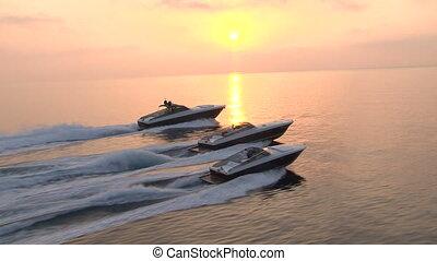 zeilend, luxe, bootjes, aanzicht, luchtopnames