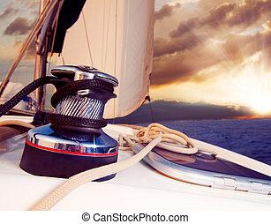 zeilend, tegen, jacht, reizen, sunset., sailboat.