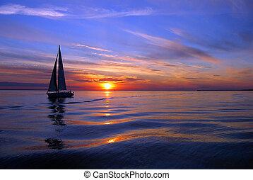 zeilend, zee, kleur