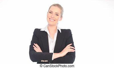 zeker, het glimlachen, businesswoman