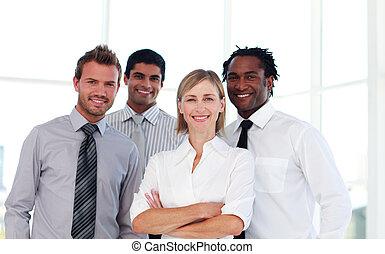 zeker, team, zakelijk, het glimlachen, fototoestel
