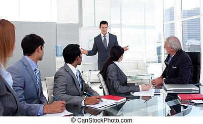 zeker, team, zijn, presentatie, geven, zakenman