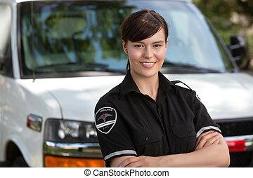 zeker, vrouw, jonge, paramedic