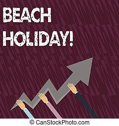 zelfs, tekst, meldingsbord, holiday., boven., wijzende, drie, gaan, vasthouden, foto, conceptueel, strand, kleurrijke, het tonen, zigzag, vakanties, handen, een, sunbathes, lightning, richtingwijzer, basically