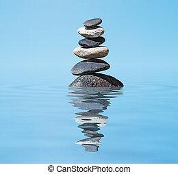 zen, -, meditatie, stapel, evenwichtig, achtergrond, reflectie, stenen, water
