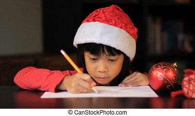 zes, oud, claus, schrijvende , kerstman, jaar