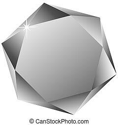 zeshoekig, diamant, witte , tegen