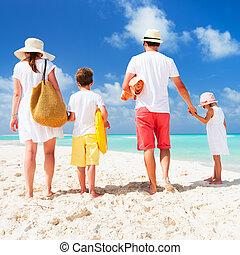 zet op het strand vakantie, gezin