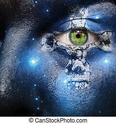 zeven, kruis, gezicht, keltisch, zuster, constellatie