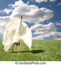 zich verbeelden, vrij, kosteloos, outdoors:, gevoel, somersault