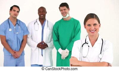 ziekenhuis, samen, team, het poseren