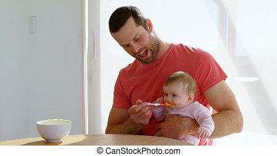 zijn, baby lepel, vader, jongen, 4k, het voeden