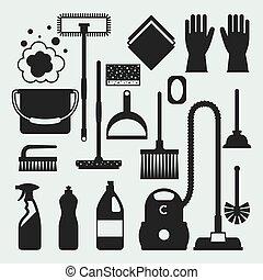 zijn, beeld, poetsen, groenteblik, banieren, plaatzen, iconen, set., huishouding, web, gebruikt, ontwerpen