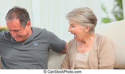 zijn, cadeau, vrouw, offergave, man, gepensioneerd