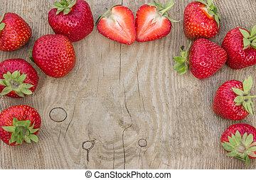 zijn, card), gebruikt, houten, verspreid, achtergrond, tafel, aardbeien, (can
