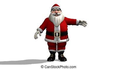 zijn, claus, hand, zwaaiende , kerstman, spotprent