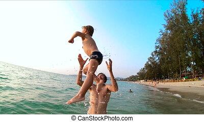 zijn, grit, gegooi, vader, zoon, zee, superslowmotion