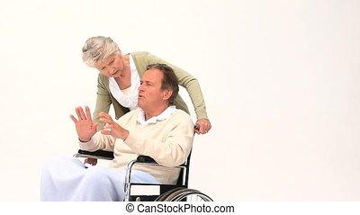 zijn, hebben, wheelchair, vrouw, man, masseren