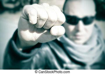 zijn, jonge, effect, filter, protest, man, verheffing, fist