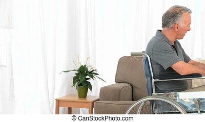 zijn, klesten, wheelchair, vrouw, man