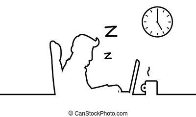 zijn, kunst, achter, matte., loopable, slapende, desk., animatie, incluis, alfa, lijn, snurken, man