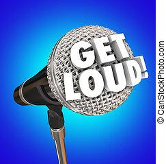 zijn, microfoon, ontkom, op, volume, gehoorde, woorden, beurt, luid, spreken