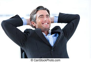 zijn, over, succes, mannelijke , lachen, uitvoerend, denken