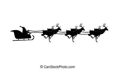 zijn, vliegen, silhouette, reindeer., claus, kadootjes, animatie, kerstman, video, arreslee, looping., getrokken, kerstmis