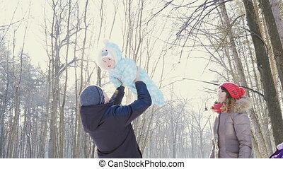 zijn, winter, park, hemel, vader, slowmotion, zoon, werpen