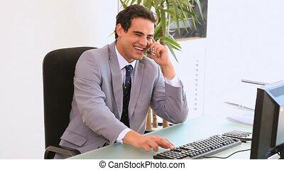 zijn, zakenmens , zit, voorkant, computer