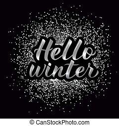 zilver, hand, disco, typografie, hallo, winter, textured, vector, poster., 3d, lettering., illustration., kalligrafie, lettering, feestje, achtergrond.