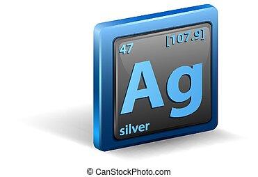 zilver, nucleair, element., getal, chemisch, mass., symbool