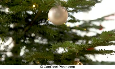zilver, versiering, glas, kerstmis, gelul, boompje