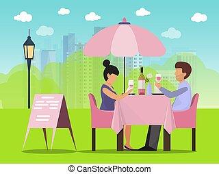 zittende , drinkt, illustration., tafel, datum, buiten, koffiehuis, klesten, paar, vector, wijntje, vrouw, man