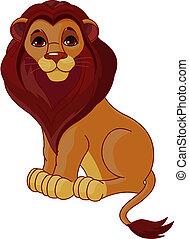 zittende , leeuw