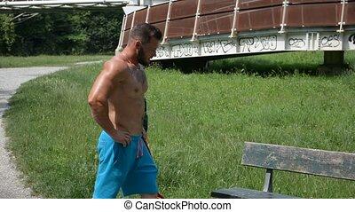 zittende , park, topless, bankje, man, mooi
