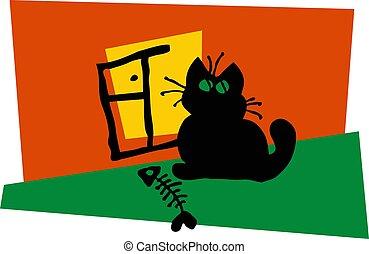zittende , stylized, beeld, venster., zwarte kat