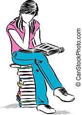 zittingsmeisje, tiener, illustratie, het boek van de lezing